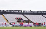 12 April 2019; England players warm-up prior to the SAFIB Centenary Shield Under 18 Boy's International match between Republic of Ireland and England at Dalymount Park in Dublin. Photo by Ben McShane/Sportsfile