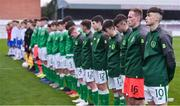 12 April 2019; Brandon Bermingham of Republic of Ireland, 10, lines up with his team-mates for Amhrán na bhFiann prior to the SAFIB Centenary Shield Under 18 Boy's International match between Republic of Ireland and England at Dalymount Park in Dublin. Photo by Ben McShane/Sportsfile