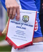 12 April 2019; A detailed view of the England pennant prior to the SAFIB Centenary Shield Under 18 Boy's International match between Republic of Ireland and England at Dalymount Park in Dublin. Photo by Ben McShane/Sportsfile
