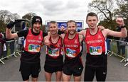 14 April 2019; The City of Derry Spartans team, from left, Steven Mcalary, Declan Reed, Kyle Doherty and Emmett Mcginty following the Great Ireland Run 2019 in conjunction with AAI National 10k Championships at Phoenix Park in Dublin. Photo by Sam Barnes/Sportsfile