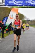 14 April 2019; Declan Reed of City of Derry A.C. Spartans, Co. Derry, crosses the line to finish third during the Great Ireland Run 2019 in conjunction with AAI National 10k Championships at Phoenix Park in Dublin. Photo by Sam Barnes/Sportsfile