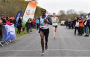 14 April 2019; Hiko Tonosa of Dundrum South Dublin AC, Co. Dublin, crosses the line to win the Great Ireland Run 2019 in conjunction with AAI National 10k Championships, ahead of Kevin Dooney of Raheny Shamrocks AC, Co. Dublin, at Phoenix Park in Dublin. Photo by Sam Barnes/Sportsfile