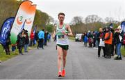 14 April 2019; Kevin Dooney of Raheny Shamrock A.C., Co. Dublin, crosses the line to finish second during the Great Ireland Run 2019 in conjunction with AAI National 10k Championships at Phoenix Park in Dublin. Photo by Sam Barnes/Sportsfile