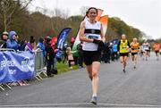 14 April 2019; Barbara Cleary of Donore Harriers, Co. Dublin, crosses the line to finish second in the Women's race during the Great Ireland Run 2019 in conjunction with AAI National 10k Championships at Phoenix Park in Dublin. Photo by Sam Barnes/Sportsfile
