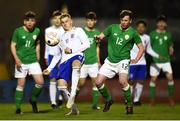 12 April 2019; Owen Windsor of England in action against Jack Doherty of Republic of Ireland during the SAFIB Centenary Shield Under 18 Boys' International match between Republic of Ireland and England at Dalymount Park in Dublin. Photo by Ben McShane/Sportsfile