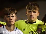 12 April 2019; Ethan Cartwright, left, and Jack Martin of England in the team huddle following the SAFIB Centenary Shield Under 18 Boys' International match between Republic of Ireland and England at Dalymount Park in Dublin. Photo by Ben McShane/Sportsfile
