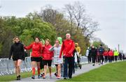 14 April 2019; Runners arrive ahead of the Great Ireland Run 2019 in conjunction with AAI National 10k Championships at Phoenix Park in Dublin. Photo by Sam Barnes/Sportsfile