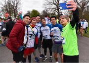 14 April 2019; Runners, from left, Ricky Palban, Jovahn Tacbas, Wilbert Gamas, Joel Igayac and Jino Bansales, from Dublin, take a selfie ahead of the Great Ireland Run 2019 in conjunction with AAI National 10k Championships at Phoenix Park in Dublin. Photo by Sam Barnes/Sportsfile
