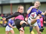 14 April 2019; Katie Malone of Metropolitan GL in action against Gemma Corrigan of Wexford WSSL during the FAI Women's U19 Interleague Cup Final match between Metropolitan GL and Wexford WSSL at Bridgewater Park, Co. Wicklow. Photo by Matt Browne/Sportsfile