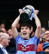 6 April 2019; Peter Rafferty of St Michaels College lifts the Hogan Cup  lifts the Masita GAA Post Primary Schools Hogan Cup Senior A Football match between Naas CBS and St Michaels College Enniskillen at Croke Park in Dublin. Photo by Ray McManus/Sportsfile