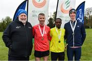 14 April 2019; Athletics Ireland deputy president John Cronin, left, with mens medallists, from left,  Declan Reed of City of Derry AC Spartans, Co. Derry, bronze, Hiko Tonosa of Dundrum South Dublin AC, Co. Dublin, gold, and Kevin Dooney of Raheny Shamrocks AC, Co. Dublin, silver, during the Great Ireland Run 2019 in conjunction with AAI National 10k Championships at Phoenix Park in Dublin. Photo by Sam Barnes/Sportsfile