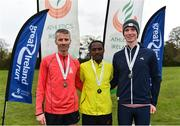 14 April 2019; Mens medallists, from left,  Declan Reed of City of Derry AC Spartans, Co. Derry, bronze, Hiko Tonosa of Dundrum South Dublin AC, Co. Dublin, gold, and Kevin Dooney of Raheny Shamrocks AC, Co. Dublin, silver, during the Great Ireland Run 2019 in conjunction with AAI National 10k Championships at Phoenix Park in Dublin. Photo by Sam Barnes/Sportsfile