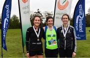 14 April 2019; Women's medallists, from left, Grace Lynch of Iveragh AC, Co. Kerry, bronze, Catherina Mullen of Metro St Brigids AC, Co. Dublin, gold, and Barbara Cleary of Donore Harriers, Co. Dublin, silver, following the Great Ireland Run 2019 in conjunction with AAI National 10k Championships at Phoenix Park in Dublin. Photo by Sam Barnes/Sportsfile