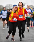 14 April 2019; Grainne Byrne, left, and Breda Woods of Tallaght A.C., Co. Dublin, competing in the Great Ireland Run 2019 in conjunction with AAI National 10k Championships at Phoenix Park in Dublin. Photo by Sam Barnes/Sportsfile