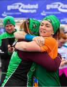 14 April 2019; Siobhan Lewis, left, and Michelle Mulholland of Carrick Aces A.C., Co. Monaghan, embrace  after competing in the Great Ireland Run 2019 in conjunction with AAI National 10k Championships at Phoenix Park in Dublin. Photo by Sam Barnes/Sportsfile