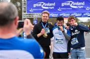 14 April 2019; Runners, from left, Erik Haaland, Nadim Ansary and Henrik Schiller celebrate with their medals following the Great Ireland Run 2019 in conjunction with AAI National 10k Championships at Phoenix Park in Dublin. Photo by Sam Barnes/Sportsfile