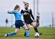 13 April 2019; Bobbi Downer of DLR Waves in action against Eabha O'Mahony of Cork City during the Só Hotels Women's National League match between DLR Waves and Cork City FC at Jackson Park in Kilternan, Dublin. Photo by Ben McShane/Sportsfile