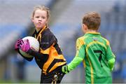 14 April 2019; Emma Condra of Nobber, Co Meath, in action against Tubberclair, Co Westmeath, during the Littlewoods Ireland Go Games Provincial Days in Croke Park. This year over 6,000 boys and girls aged between six and twelve represented their clubs in a series of mini blitzes and just like their heroes got to play in Croke Park. Photo by Piaras Ó Mídheach/Sportsfile