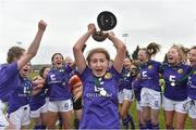 14 April 2019; Wexford WSSL captain Fiona Ryan lifts the cup as her team-mates celebrate after the FAI Women's U19 Interleague Cup Final match between Metropolitan GL and Wexford WSSL at Bridgewater Park, Co. Wicklow.  Photo by Matt Browne/Sportsfile