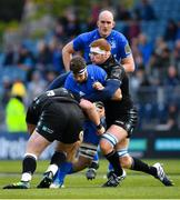 13 April 2019; Caelan Doris of Leinster is tackled by Zander Fagerson, left, and Rob Harley of Glasgow Warriors during the Guinness PRO14 Round 20 match between Leinster and Glasgow Warriors at the RDS Arena in Dublin. Photo by Ramsey Cardy/Sportsfile