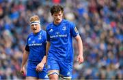 13 April 2019; Jack Dunne, right, and James Tracy of Leinster during the Guinness PRO14 Round 20 match between Leinster and Glasgow Warriors at the RDS Arena in Dublin. Photo by Ramsey Cardy/Sportsfile