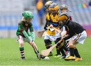 14 April 2019; Tom McVann of Kiltale, Co Meath, left, in action against Piltown, Co Kilkenny, during the Littlewoods Ireland Go Games Provincial Days in Croke Park. This year over 6,000 boys and girls aged between six and twelve represented their clubs in a series of mini blitzes and just like their heroes got to play in Croke Park. Photo by Piaras Ó Mídheach/Sportsfile