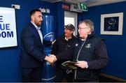 13 April 2019; Leinster players Ross Molony and Jack Conan with guests in the Blue Room prior to the Guinness PRO14 Round 20 match between Leinster and Glasgow Warriors at the RDS Arena in Dublin. Photo by Stephen McCarthy/Sportsfile