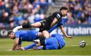 13 April 2019; Adam Hastings of Glasgow Warriors in action against Rob Kearney, left, and Robbie Henshaw of Leinster during the Guinness PRO14 Round 20 match between Leinster and Glasgow Warriors at the RDS Arena in Dublin. Photo by Stephen McCarthy/Sportsfile
