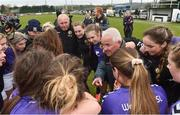 14 April 2019; Wexford WSSL manager Michael Bennett with his players afte the FAI Women's U19 Interleague Cup Final match between Metropolitan GL and Wexford WSSL at Bridgewater Park, Co. Wicklow. Photo by Matt Browne/Sportsfile