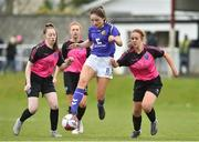 14 April 2019; Katie Murphy of Wexford WSSL in action against Marta McGlade and Molly Doyle of Metopplitan GL during the FAI Women's U19 Interleague Cup Final match between Metropolitan GL and Wexford WSSL at Bridgewater Park, Co. Wicklow. Photo by Matt Browne/Sportsfile