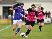 14 April 2019; Jasmine Martin of Wexford WSSL in action against Lauren Fox of Metopplitan GL during the FAI Women's U19 Interleague Cup Final match between Metropolitan GL and Wexford WSSL at Bridgewater Park, Co. Wicklow. Photo by Matt Browne/Sportsfile