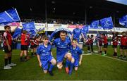 13 April 2019; Matchday mascots Finn Kelly and Ben Ward with Leinster captain Seán O'Brien ahead of the Guinness PRO14 Round 20 match between Leinster and Glasgow Warriors at the RDS Arena in Dublin. Photo by Ramsey Cardy/Sportsfile