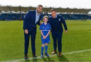 13 April 2019; Matchday mascot Ben Ward with Leinster players Jack Conan and Bryan Byrne ahead of the Guinness PRO14 Round 20 match between Leinster and Glasgow Warriors at the RDS Arena in Dublin. Photo by Ramsey Cardy/Sportsfile
