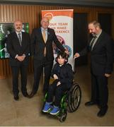15 April 2019; In attendance during the GAA's 5 charities 2019 announcement are Uachtarán Chumann Lúthchleas Gael John Horan, second from left, with from Enable Ireland, John O'Sullivan and Jason O'Reilly with his son Oscar, age 9, at Croke Park in Dublin. Photo by David Fitzgerald/Sportsfile