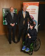 15 April 2019; In attendance during the GAA's 5 charities 2019 announcement are Uachtarán Chumann Lúthchleas Gael John Horan, second from left, with from Enable Ireland, John O'Sullivan and Oscar O'Reilly, age 9, at Croke Park in Dublin. Photo by David Fitzgerald/Sportsfile