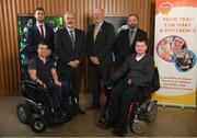 15 April 2019; In attendance during the GAA's 5 charities 2019 announcement are Uachtarán Chumann Lúthchleas Gael John Horan, third from right, with from Enable Ireland, back row, from left, Donal Kitt, John O'Sullivan, Jason O'Reilly and front row, Brian Murphy, left, and Padhraic Dormer at Croke Park in Dublin. Photo by David Fitzgerald/Sportsfile