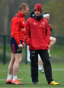 15 April 2019; Head coach Johann van Graan, right, with Keith Earls during Munster Rugby Squad Training at University of Limerick in Limerick. Photo by Brendan Moran/Sportsfile