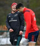 15 April 2019; Conor Murray, right, and Tyler Benendaal during Munster Rugby Squad Training at University of Limerick in Limerick. Photo by Brendan Moran/Sportsfile