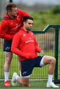 15 April 2019; Rory Scannell, left, and Conor Murray during Munster Rugby Squad Training at University of Limerick in Limerick. Photo by Brendan Moran/Sportsfile
