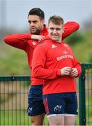15 April 2019; Rory Scannell, right, and Conor Murray during Munster Rugby Squad Training at University of Limerick in Limerick. Photo by Brendan Moran/Sportsfile