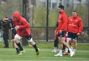 15 April 2019; Peter O'Mahony, left, during Munster Rugby Squad Training at University of Limerick in Limerick. Photo by Brendan Moran/Sportsfile