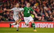12 April 2019; Stephen Elliott of Republic of Ireland XI in action against Richie Partridge of Liverool FC Legends during the Sean Cox Fundraiser match between the Republic of Ireland XI and Liverpool FC Legends at the Aviva Stadium in Dublin. Photo by Sam Barnes/Sportsfile