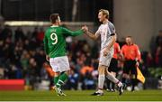 12 April 2019; Sami Hyypia of Liverpool FC Legends and Kevin Doyle of Republic of Ireland XI shake hands following the Sean Cox Fundraiser match between the Republic of Ireland XI and Liverpool FC Legends at the Aviva Stadium in Dublin. Photo by Sam Barnes/Sportsfile