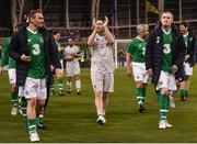 12 April 2019; Players from both sides including Robbie Keane of Liverpool FC Legends applaud the fans following the Sean Cox Fundraiser match between the Republic of Ireland XI and Liverpool FC Legends at the Aviva Stadium in Dublin. Photo by Sam Barnes/Sportsfile