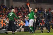 12 April 2019; Ray Houghton of Republic of Ireland XI as his is subsituted during the Sean Cox Fundraiser match between the Republic of Ireland XI and Liverpool FC Legends at the Aviva Stadium in Dublin. Photo by Sam Barnes/Sportsfile