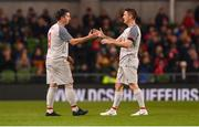 12 April 2019; Robbie Keane, right, and Robbie Fowler of Liverpool FC Legends during the Sean Cox Fundraiser match between the Republic of Ireland XI and Liverpool FC Legends at the Aviva Stadium in Dublin. Photo by Sam Barnes/Sportsfile