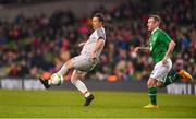 12 April 2019; Robbie Fowler of Liverpool FC Legends in action against Stephen Elliott of Republic of Ireland XI during the Sean Cox Fundraiser match between the Republic of Ireland XI and Liverpool FC Legends at the Aviva Stadium in Dublin. Photo by Sam Barnes/Sportsfile
