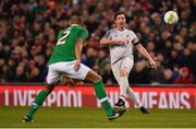 12 April 2019; Robbie Fowler of Liverpool FC Legends in action against Steven Reid of Republic of Ireland XI during the Sean Cox Fundraiser match between the Republic of Ireland XI and Liverpool FC Legends at the Aviva Stadium in Dublin. Photo by Sam Barnes/Sportsfile