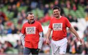 12 April 2019; John Aldridge, left, of Liverpool FC Legends and Niall Quinn of Republic of Ireland XI ahead of the Sean Cox Fundraiser match between the Republic of Ireland XI and Liverpool FC Legends at the Aviva Stadium in Dublin. Photo by Sam Barnes/Sportsfile