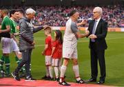 12 April 2019; Republic of Ireland manager Mick McCarthy, right, shakes hands with John Aldridge of Liverpool FC Legends, ahead of the Sean Cox Fundraiser match between the Republic of Ireland XI and Liverpool FC Legends at the Aviva Stadium in Dublin. Photo by Sam Barnes/Sportsfile